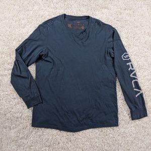 RVCA T-Shirt Men Large Blue Gray Long Sleeve A03